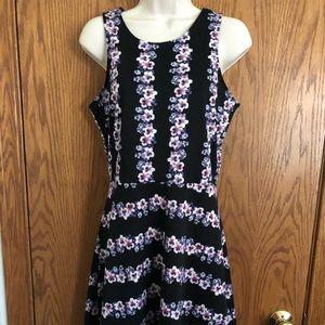 H&M Black Floral Print Knee Length Dress Jrs Sz M